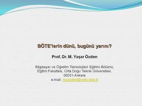 BÖTE (Bilgisayar ve Öğretim Teknolojileri Eğitimi) Bölümlerinin Başlangıcı?